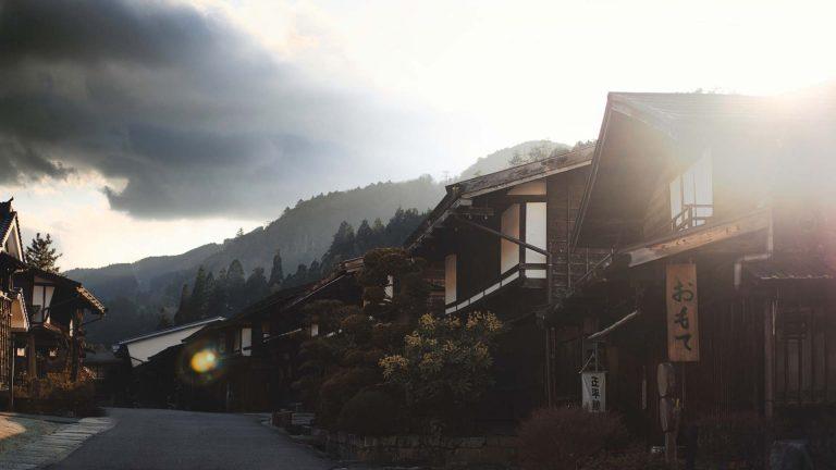 Japońska wieś w górach