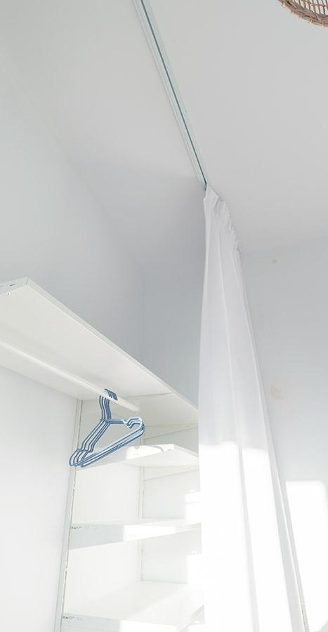 Zasłony do garderoby z białego weluru